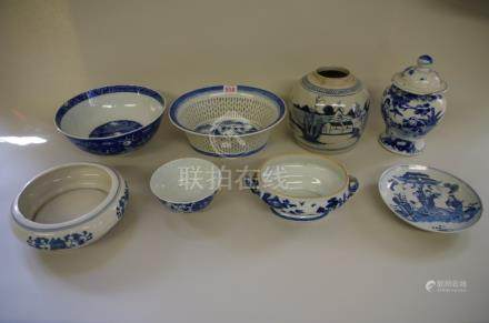 A mixed group of Chinese blue and white porcelain,to include a chestnut basket. (8)