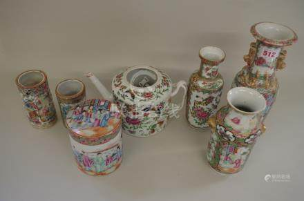 Seven Chinese Canton famille rose items,largest 25.5cm high.