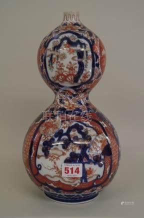 A Japanese Imari double gourd vase,Meiji period,31cm high.