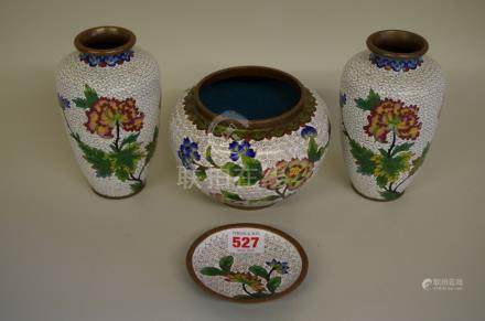 A matching set of four Chinese cloisonne enamel items,the vases 15cm high.