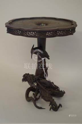 An unusual Japanese bronze vase or stand, Meiji period, the shaped top moulded in shallow relief