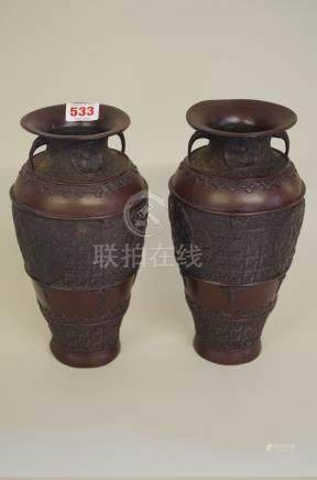 A pair of Japanese bronze twin handled vases,25cm high.