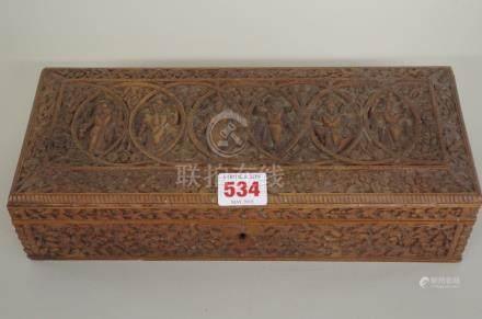 An eastern carved hardwood rectangular casket,30.5cm wide.