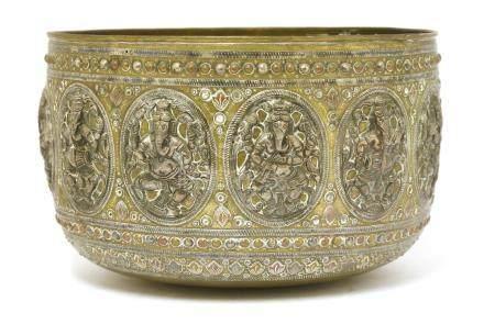 A large Burmese brass bowl