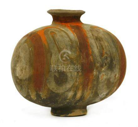 A Chinese earthenware cocoon jar