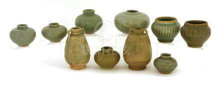 A collection of Chinese Longquan celadon jarlets