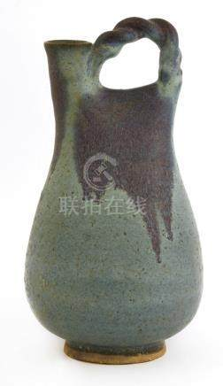 A Chinese Jun glazed pottery flask
