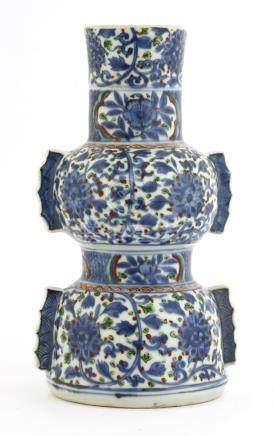 A Chinese wucai gu vase