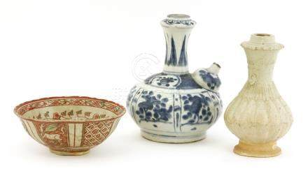 A blue and white kendi, a qingbai vase and a Vietnamese bowl