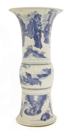 A Chinese blue and white gu vase