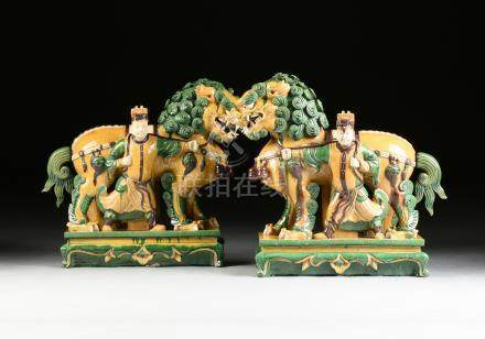 A PAIR OF CHINESE SANCAI GLAZED EARTHENWARE BUDDHISTIC LION AND ATTENDANT GROUPS, LATE 20TH CENTURY,