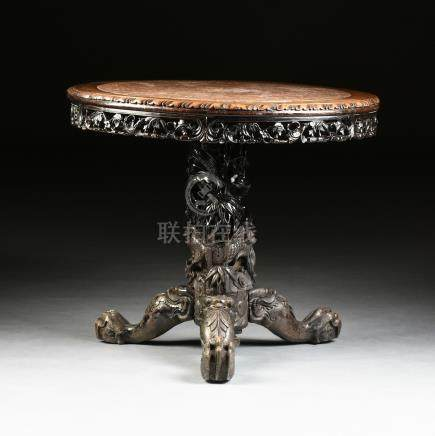 A CHINESE EXPORT MARBLE TOP BLACK LACQUERED HONGMU BREAKFAST TABLE, LATE QING DYNASTY (1644-1912),