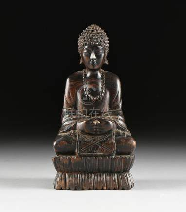 A VINTAGE ROSEWOOD BUDDHA, MID 20TH CENTURY, domed, curled hairs, over a serene, joyful face,