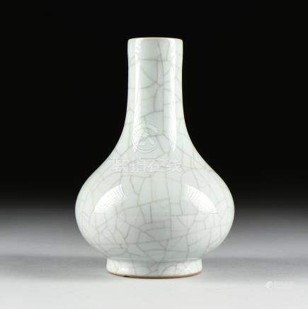 A SONG DYNASTY (960-1279) STYLE GUAN-TYPE BOTTLE VASE, CHINESE, glazed porcelain, of compressed