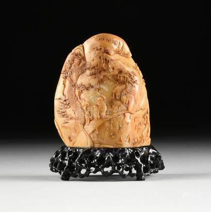 A CHINESE CARVED RUSSET BROWN SHOUSHAN SCHOLAR'S ROCK, SIGNED, LATE 20TH CENTURY, of boulder form
