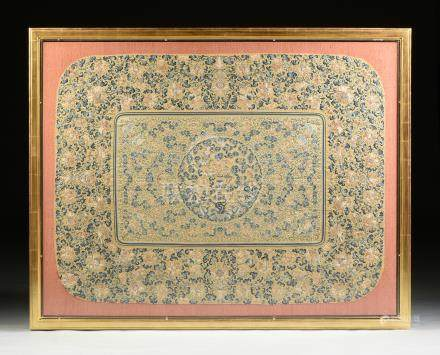 A CHINESE BLUE AND YELLOW SILK EMBROIDERED THRONE CUSHION COVER, QING DYNASTY (1644-1912),circa