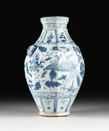 A CHINESE BLUE AND WHITE OCTAGONAL EARTHENWARE VASE, IN THE YUAN DYNASTY (1279-1368) STYLE, 19TH/