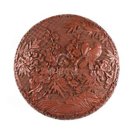 A CHINESE RED CINNABAR LACQUER DOMED BOX, CHINESE REPUBLIC PERIOD (1912-1949), an avian theme,