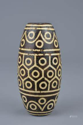 A large Tibetan painted pottery bead Tianzhu style. 9cm width