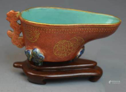 Chinese Coral Red Glazed Gold Gilt Porcelain Cup