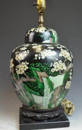 Chinese Black Ground Porcelain Lamp Vase