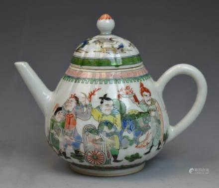 Chinese Famille Verte Porcelain Teapot