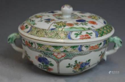 Chinese Famille Verte Porcelain Bowl w/ Lid