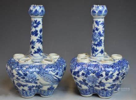 Pr Chinese B&W Six-hole Porcelain Flower Pot