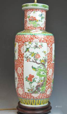 Chinese Coral Red Mirror Porcelain Vase Lamp