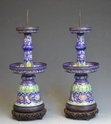 Pr Chinese Cloisonne Candle Sticks w/ Wood Stands