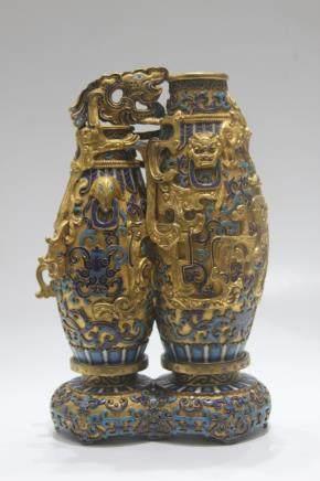Chinese Enamelled Double Dragon Vase