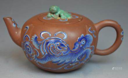 Chinese Yixing Zisha Foo Dog Teapot w/ Carved Lid