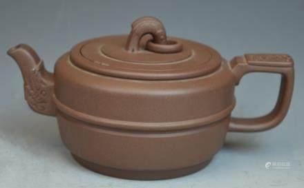 Chinese Carved Yixing Zisha Teapot