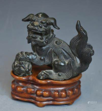 Chinese Stone Foo Dog on Wooden Stand