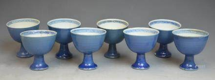 Set of 8 Chinese Blue Glazed Porcelain Wine Cups