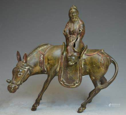 Chinese Man on Donkey Bronze Statue Figure