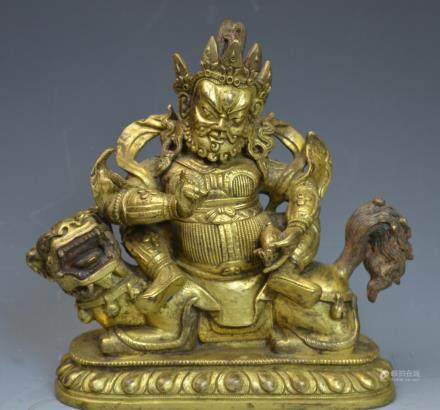 Chinese Gold Gilt Bronze Buddha Statue Figure