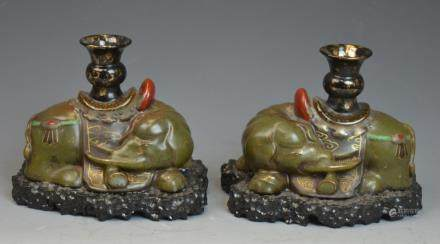 Pair of Chinese Teadust Glazed Porcelain Elephants