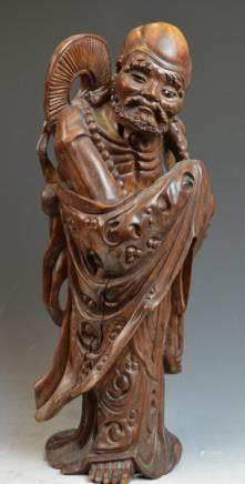 Chinese Wood Carved Figure of Scholar