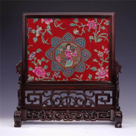 A Chinese Silk Embroidered Table Screen with Rosewood Stand