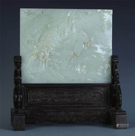 A Chinese Carved White Jade Landscape Table Screen