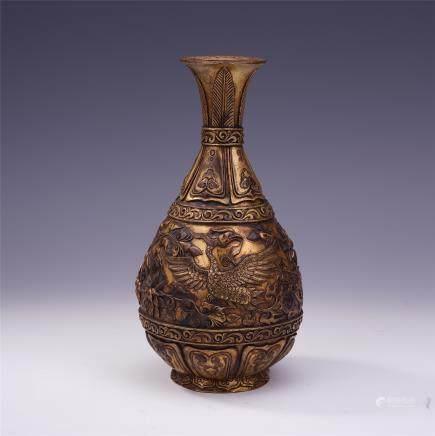 """A Chinese Gilt Bronze """"Phoenix"""" Yuhuchenping"""