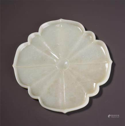A Chinese White Jade Foliate-rim Dish