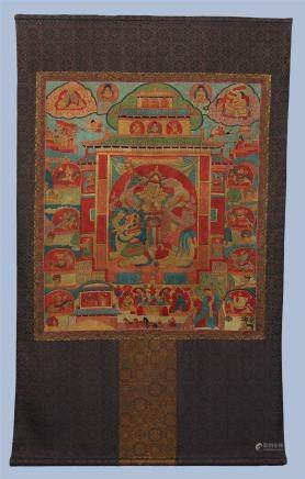 A Fine Chinese Silk Embroidery Thangka Depicting The God of Weath