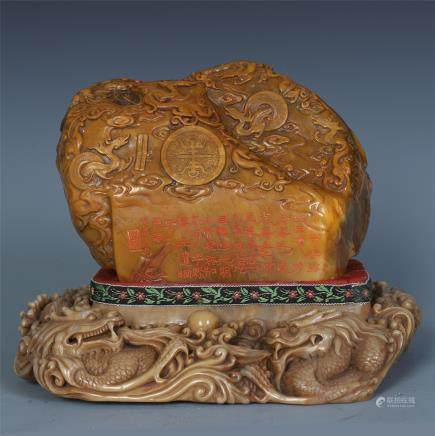 A Large Chinese Carved Soapstone Seal