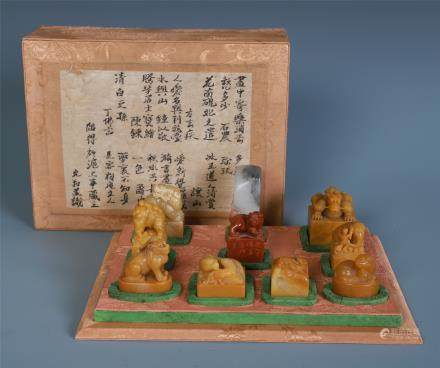 A Chinese Carved Soapstone Seal Set