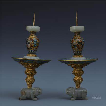 A Pair of Chinese Cloisonne Enameled  and Jade Candle Holders