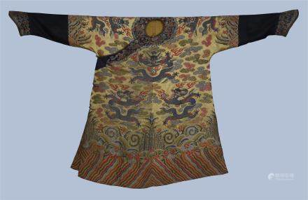 An  Imperial  Chinese Silk Embroidered Winter Dragon Robe