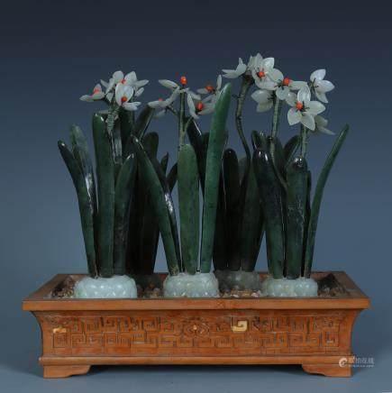 A Chinese Bamboo Veneer Jade Narcissus Bonsai