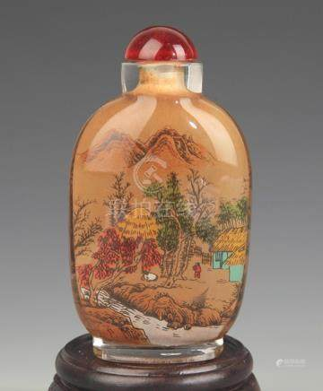A FINE LANDSCAPING PAINTED SNUFF BOTTLE